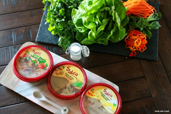 Hummus and Veggie Lettuce Wraps // treatswithatwist.com