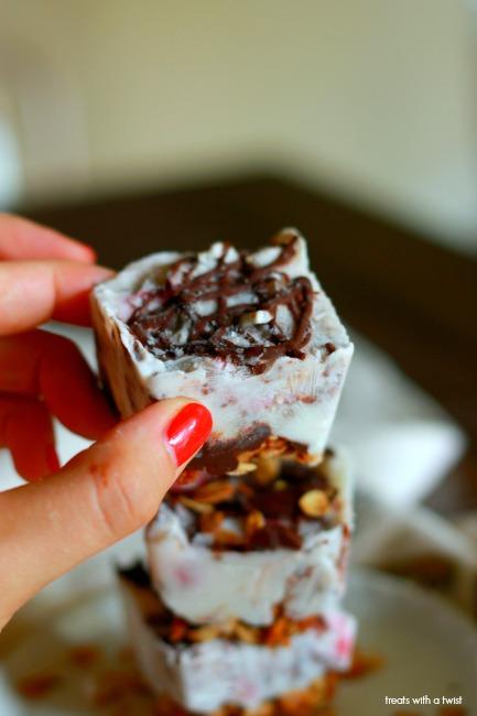 Chocolate Strawberry Frozen Yogurt Bites // treatswithatwist.com