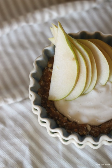 Raw Cardamom Pear Tart with Salty Date Caramel