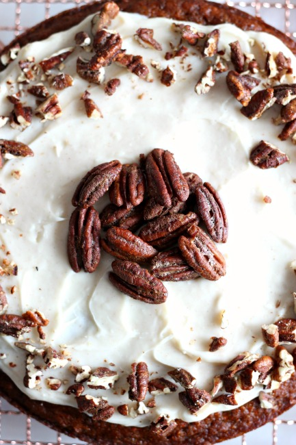 Carrot Cake with Cream Cheese Frosting and Candied Pecans // gluten free// treatswithatwist.com