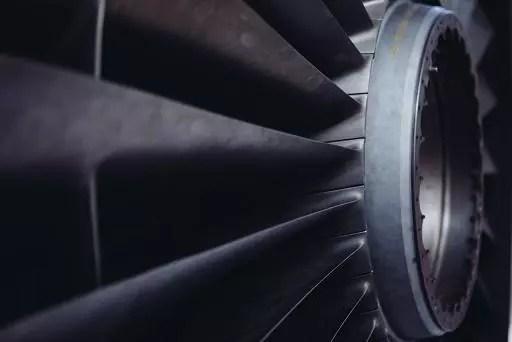 A picture of a jet turbine. Public domain