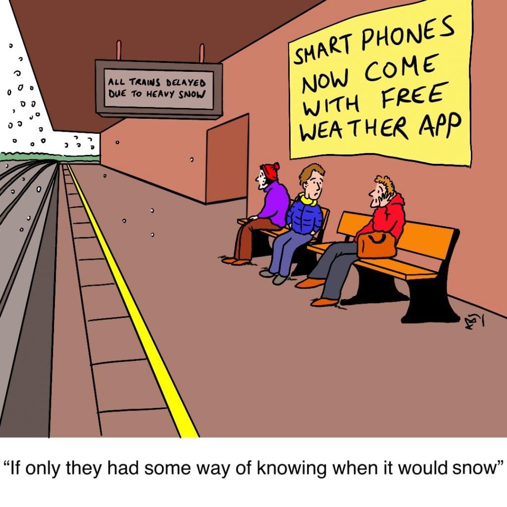 Snowed: Satirical Saturday Cartoon on Art by Alex Brenchley 2019