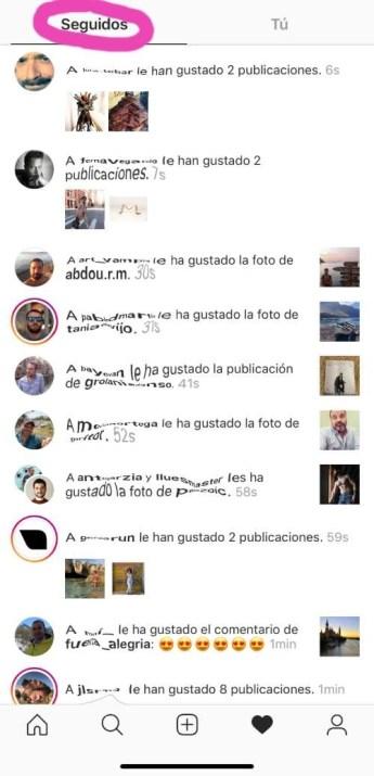 Instagram following