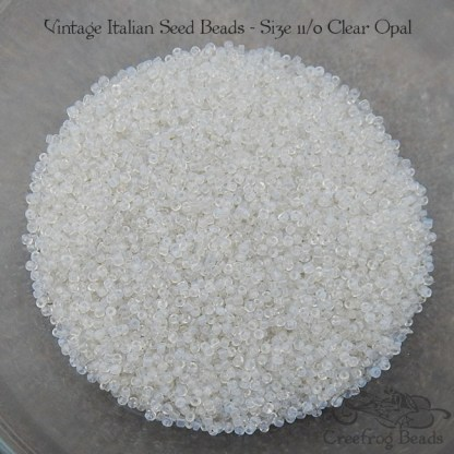 vintage size 11 beads clear opal
