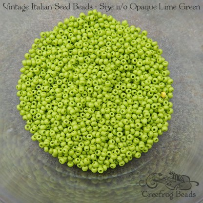 vintage size 11 beads opaque lime green