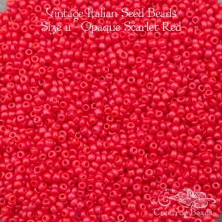 vintage size 11 beads opaque red scarlet