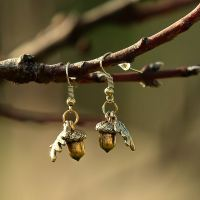 Gold Acorn Earrings with Oak Leaves