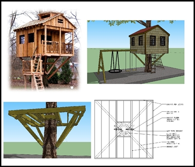 10 Square Treehouse Plan  Standard Treehouse Plans