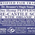 Dr. Bronner's Organic Pure Castile Bar Soap, Peppermint, 5 oz