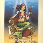 """Mermatey Temptress of the Deep"" Mermaid/Pirate Flag / Garden Banner (12″ x 18″)"