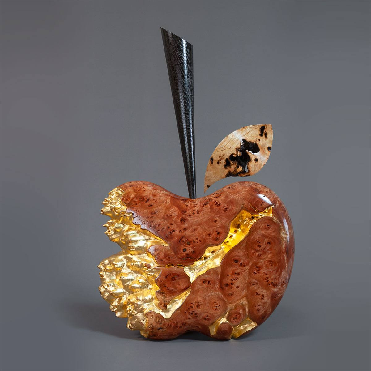 Burr Elm and Gold leaf apple sculpture