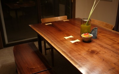 Walnut Slab Dining Set