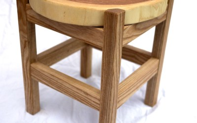 Salvaged Wood Slab Stool
