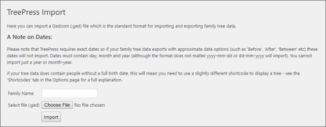 Data Import Screen