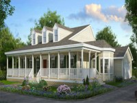 One Story House Plans with Front Porches, large one level ...