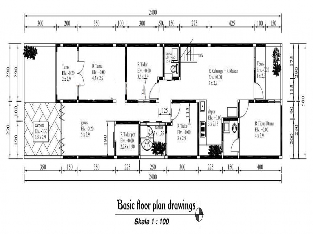 Simple House Floor Plan Drawing Simple Two-Story House
