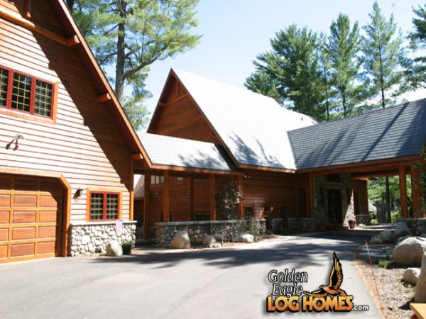 Log Cabin Home Floor Plans with Garage