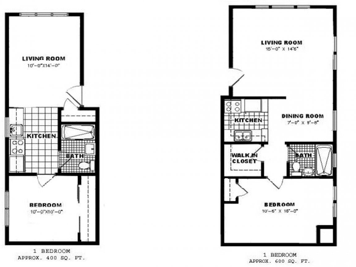 One Bedroom Apartment Floor Plan Apartments for Rent, 1