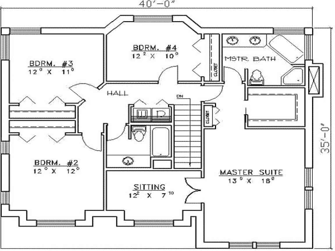 Residential House Plans 4 Bedrooms 4 Bedroom House Plans