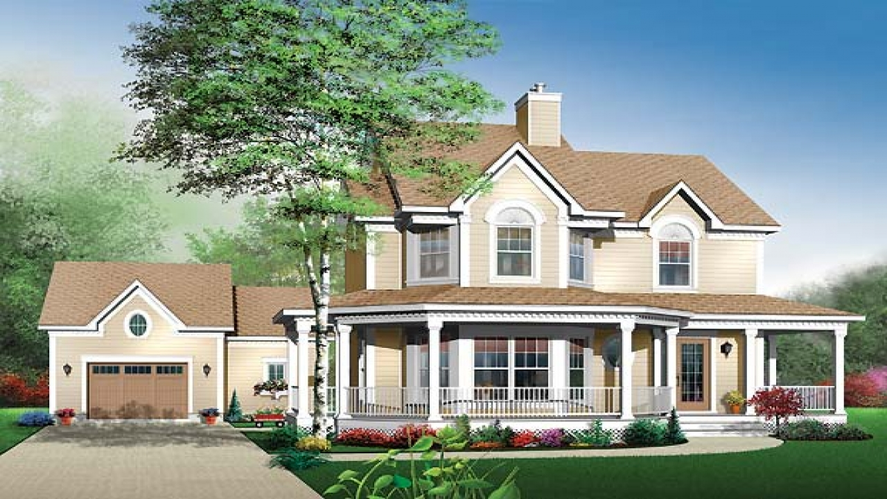 House Plans with Porches and Bay Window Country House