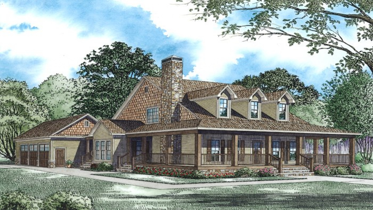 Country Home Plans With Wrap Around Porches.Country Style
