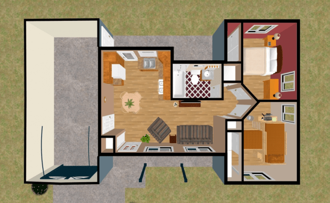 2 Bedroom House Plans 3d 2 Bedroom House Simple Plan Cozy