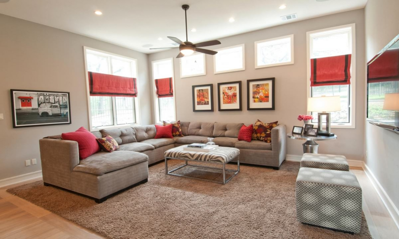 contemporary living room furniture ideas black white and red mediterranean- style ...