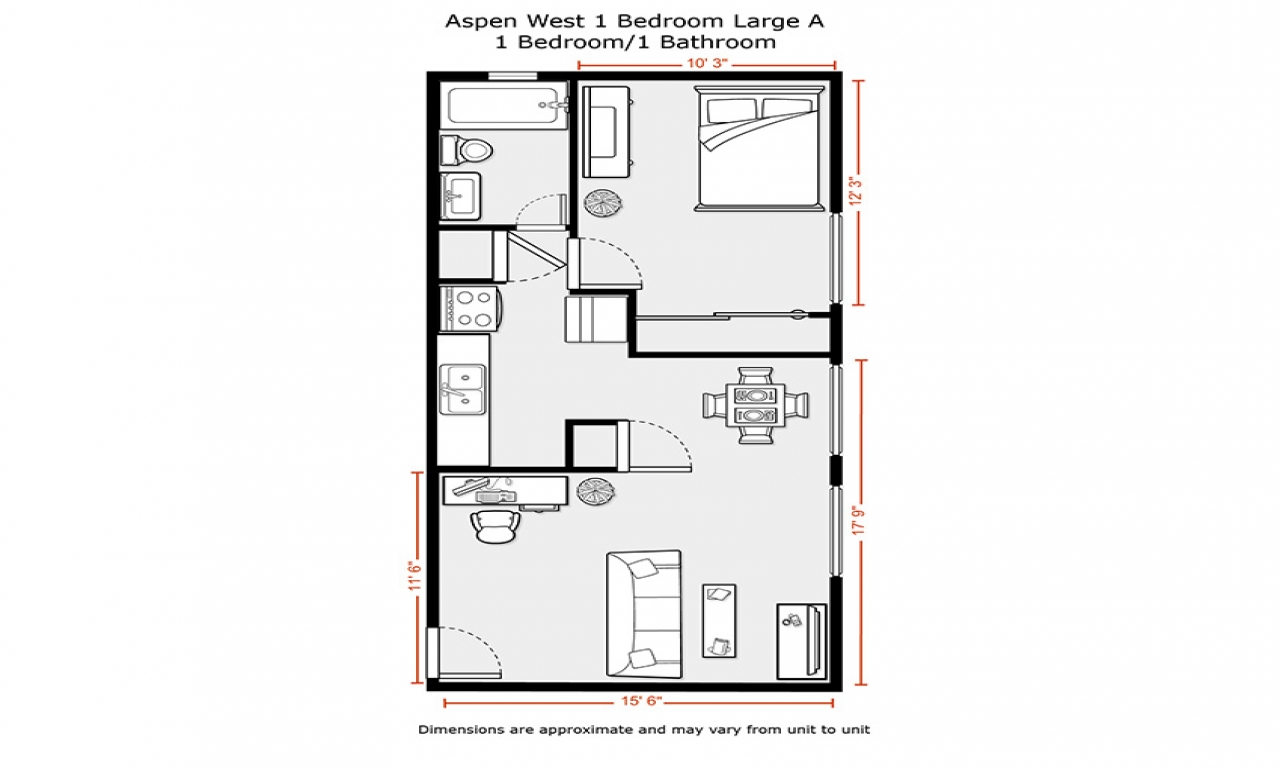 600 Sq FT Apartment Floor Plan 333 Sq FT Studio Apartment
