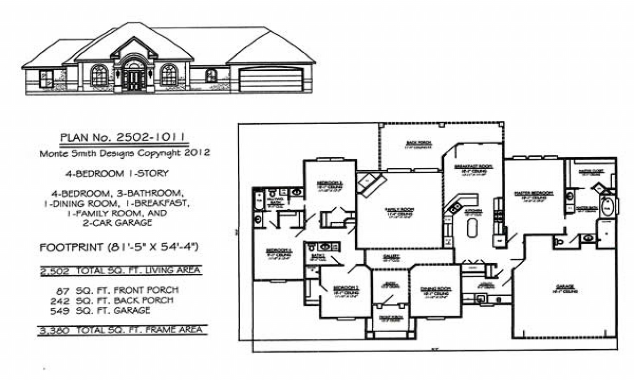 4 Bedroom Single Family 4 Bedroom One Story House Plans 1