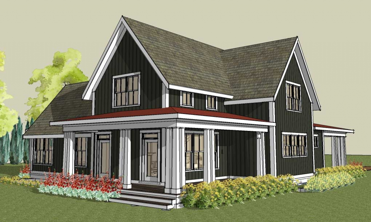 Large Gable Roof House Plan Farmhouse House Plans With Porches Small Farm House Design