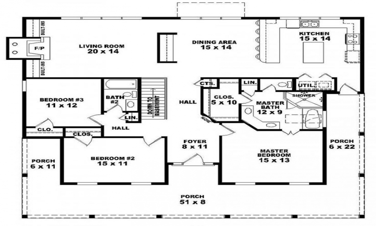 One Story 3 Bedroom 2 Bath House Plans 3 Bedroom Houses