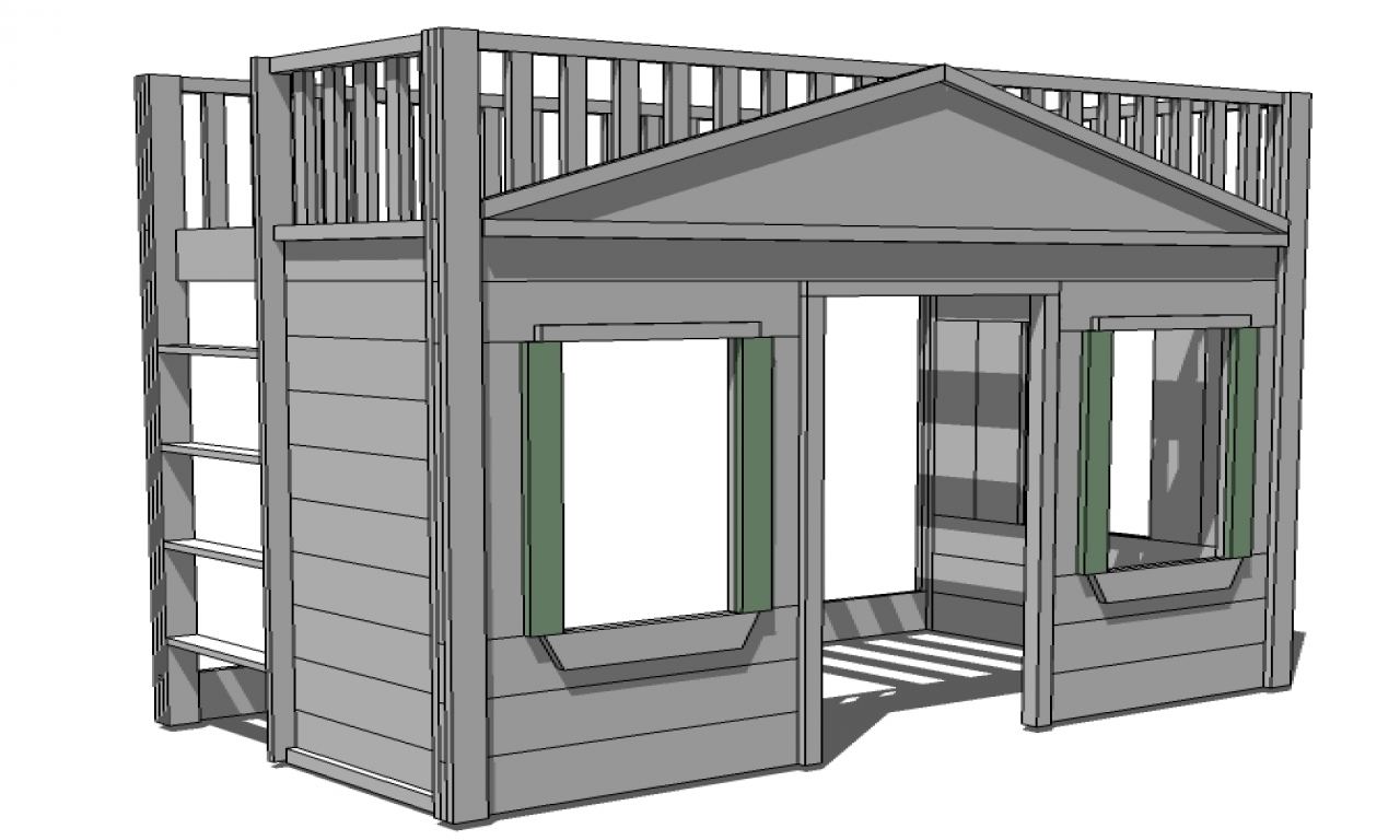 Ana White Loft Bed Plans Full Size Loft Bed cottage with