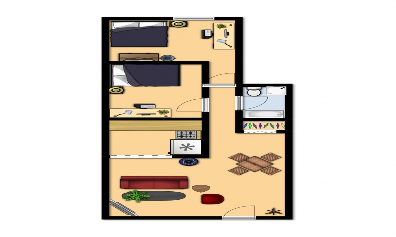 600 Square Foot Apartment Layout 600 Sq FT Apartment Floor