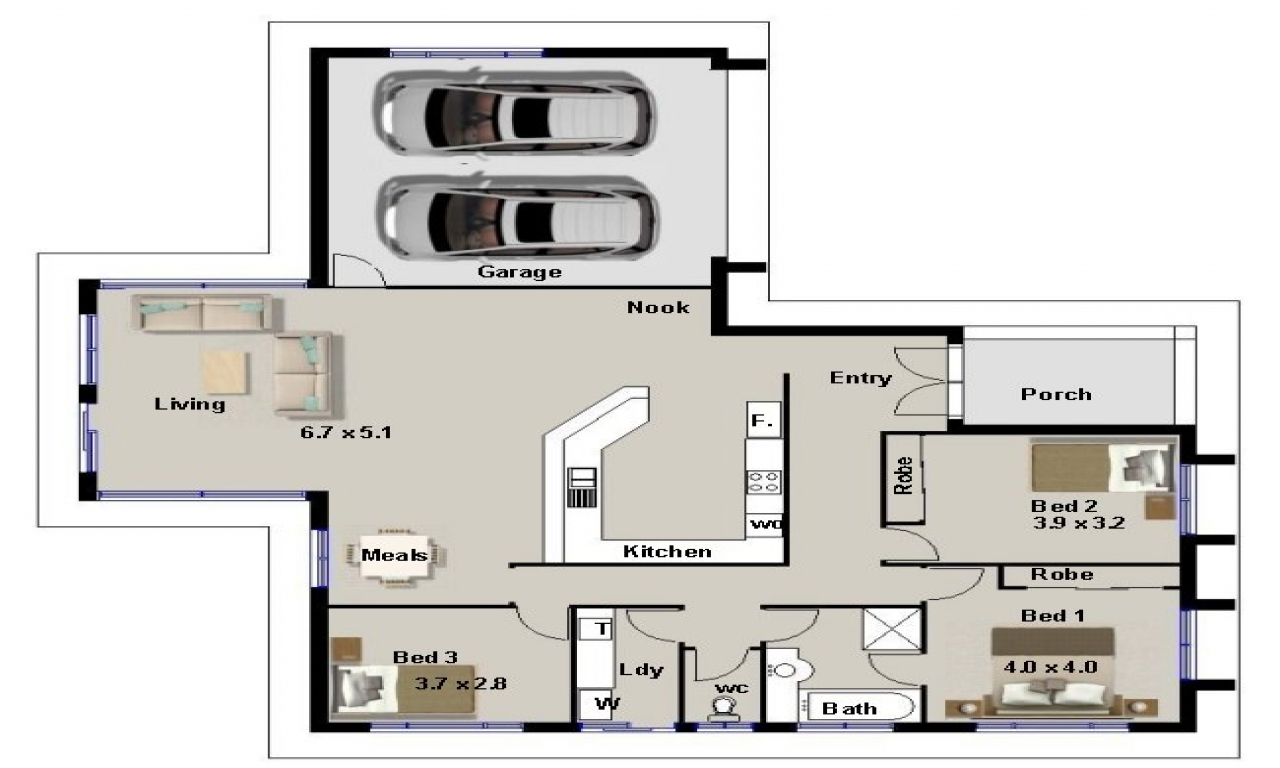 3 Bedroom House Plans with Double Garage Lowes Home