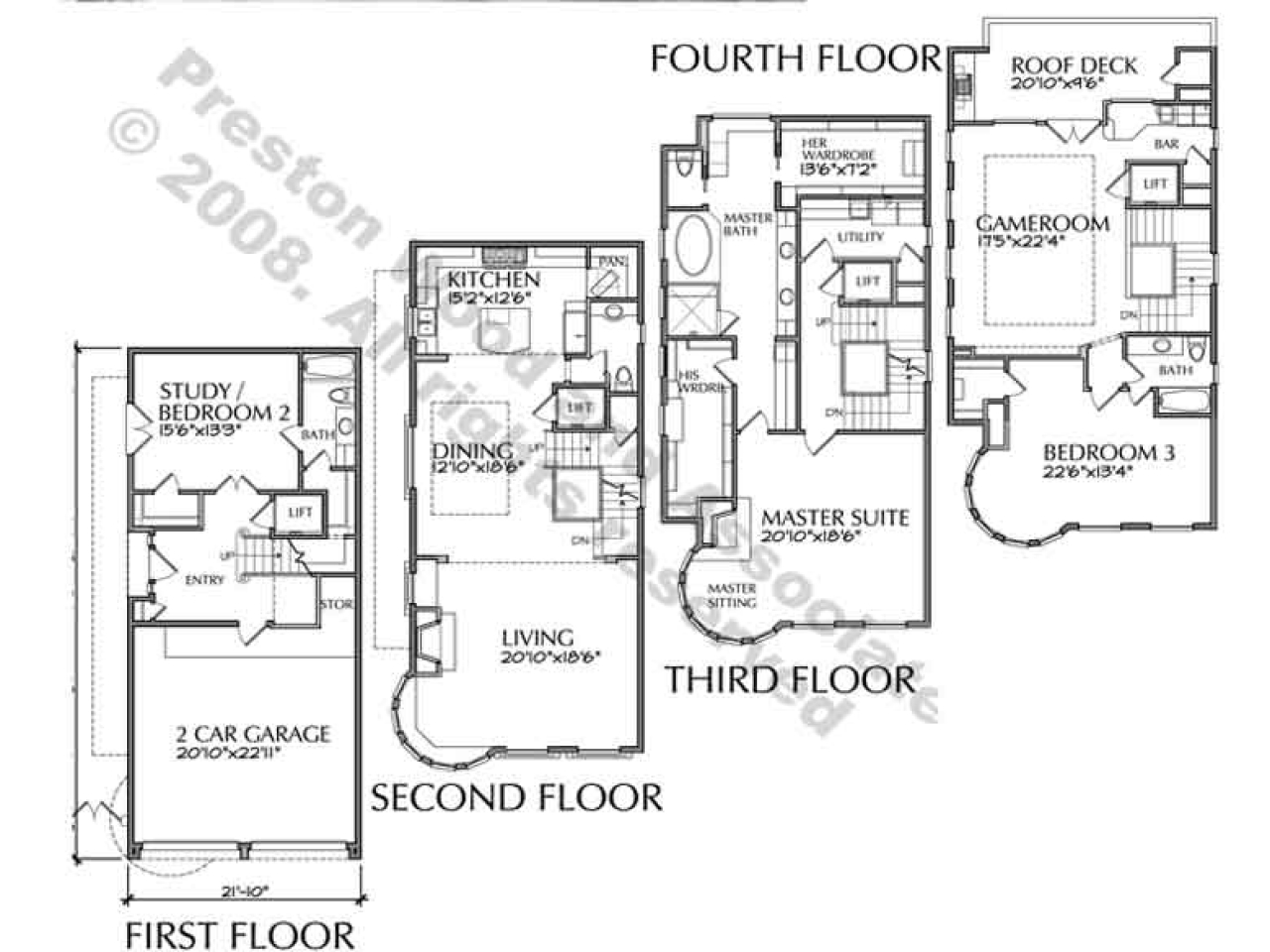 4story Townhouse Plans 4story Transparent Background
