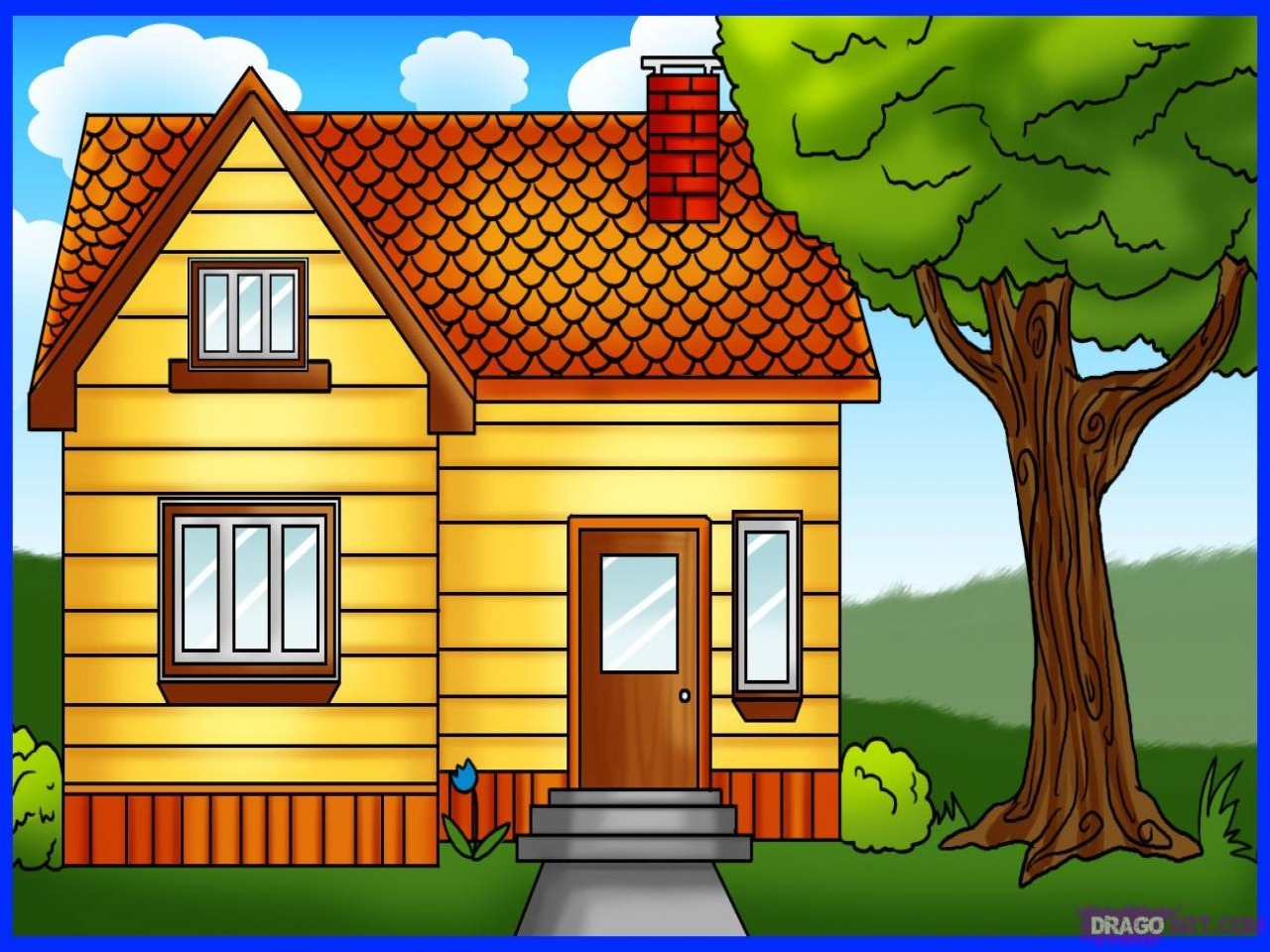 How to Draw Houses Drawing Full House How to Draw small house drawing  Treesranchcom