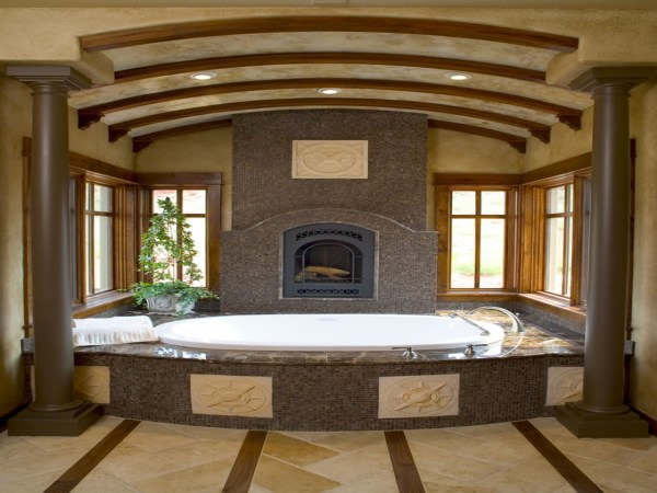 Master Bathroom With Fireplace And Spa
