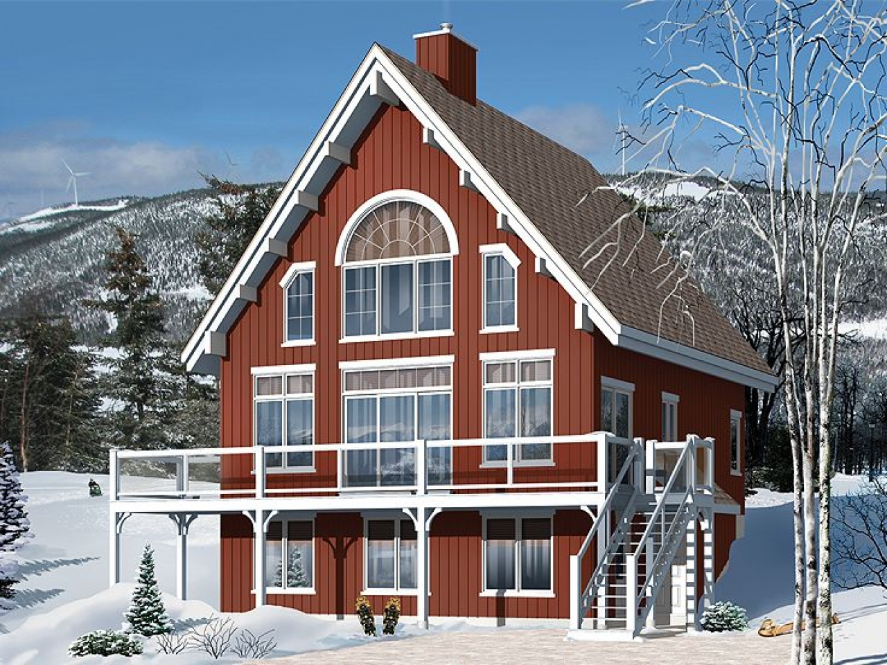 Chalet Home Plans 2 Story Chalet for Mountain Lot House