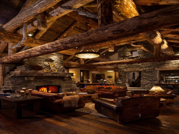 Living Room Rustic Log Cabin Homes Country