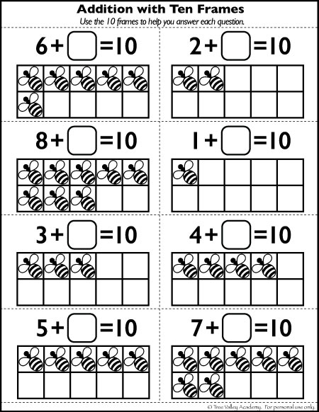 Number Bonds to 10 Free Math Worksheets