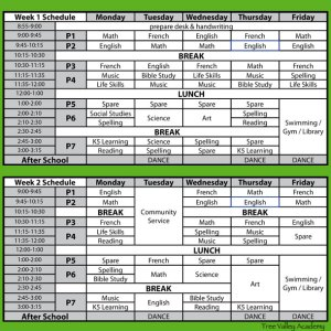 Our Grade 2 homeschooling schedule. We have 2 weekly schedules that alternate weekly.