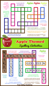 Grade 3 apple themed spelling activities. 2 kid-friendly crossword puzzles, 2 spelling games, a word search and other spelling activities to practice the spellings of 17 third grade apple themed words. 8 pages of free printables.