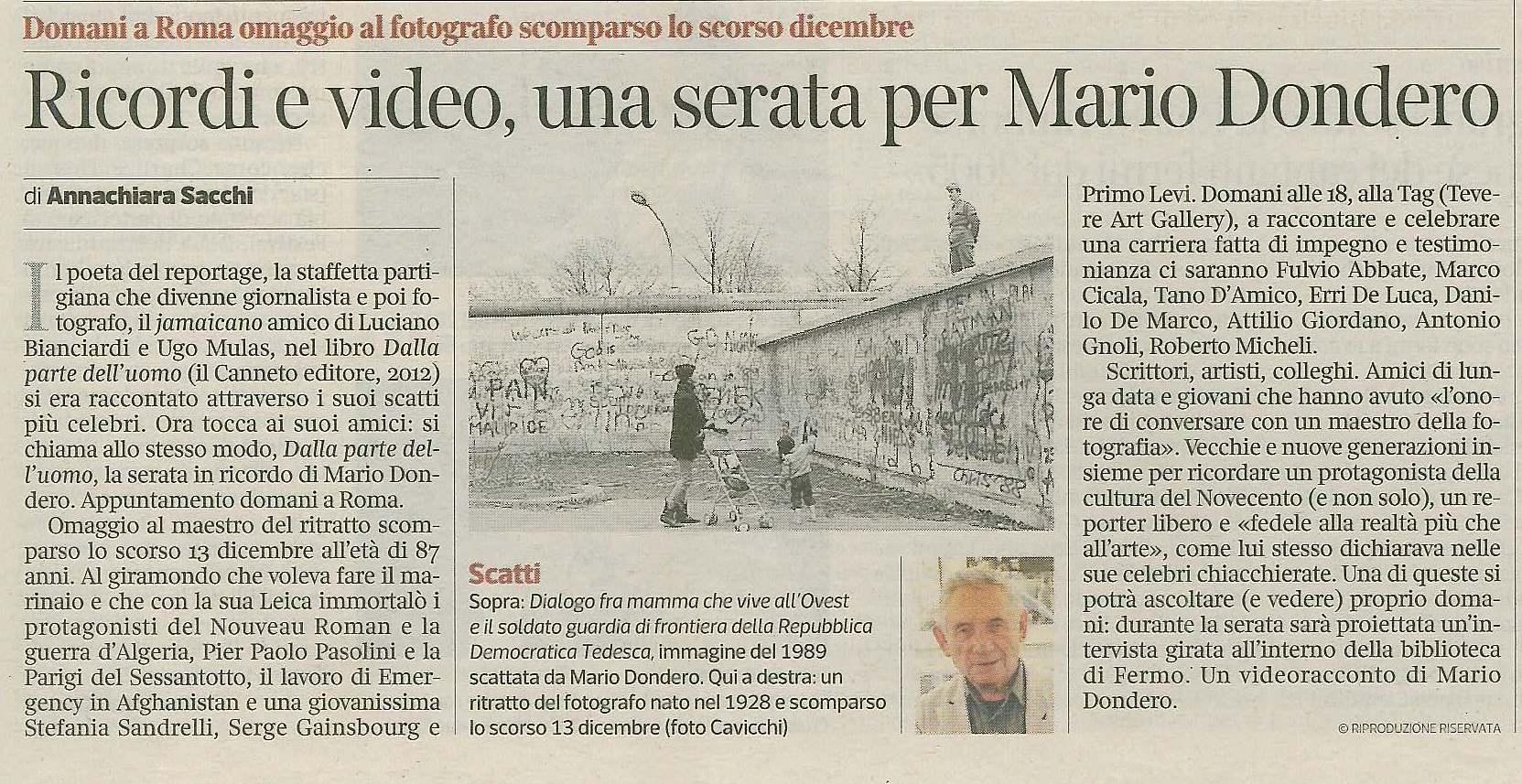 Ricordi e video, una serata per Mario Dondero