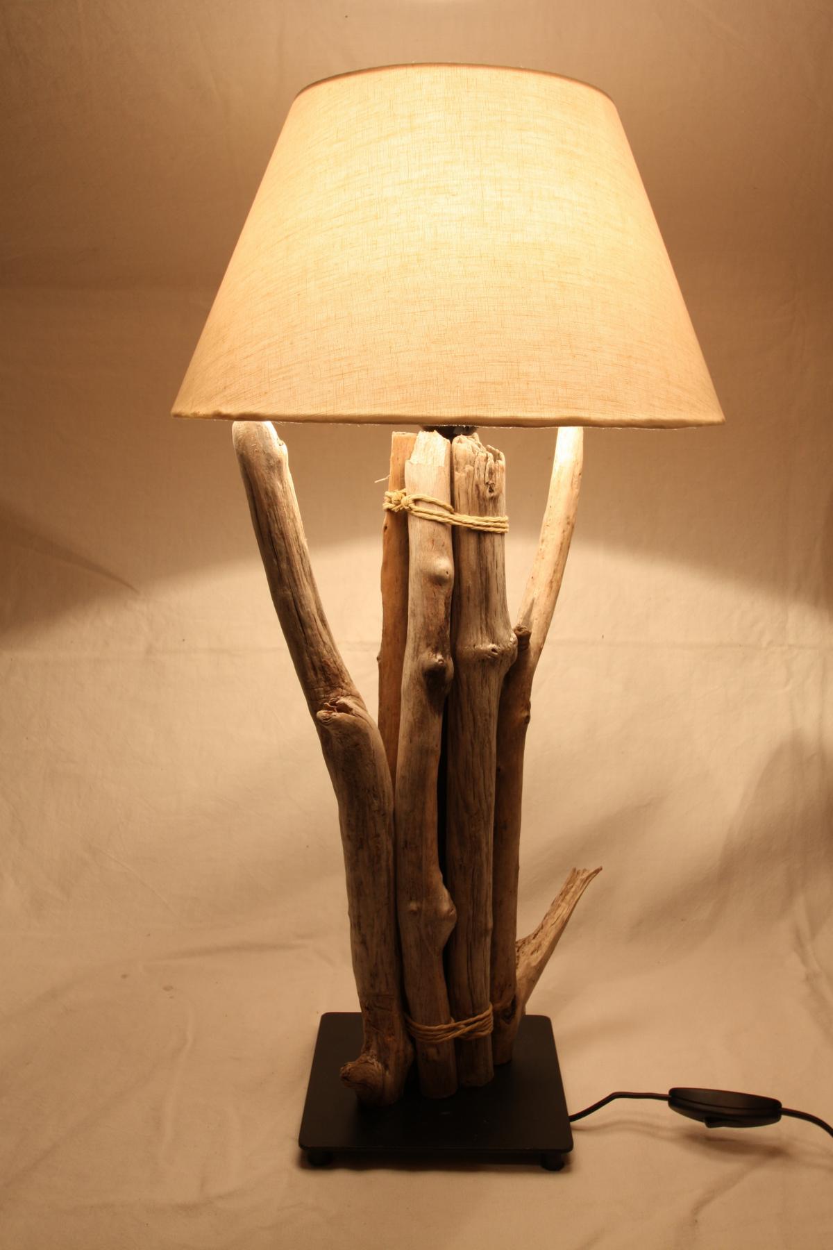 Treibholz Lampe mit Schirm  wwwtreibholzbodenseede  Tischlampe Unikat