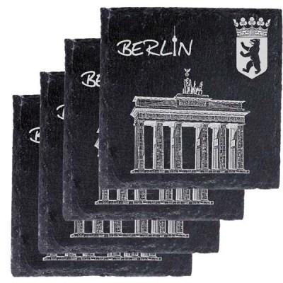 Schieferplatte Untersetzer mit Gravur Wahrzeichen Berlin