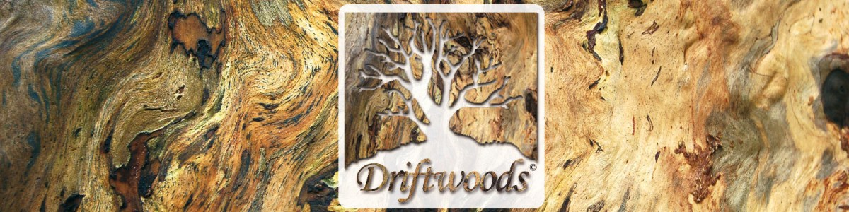 Driftwoods Logo mit Holz Hintergrund