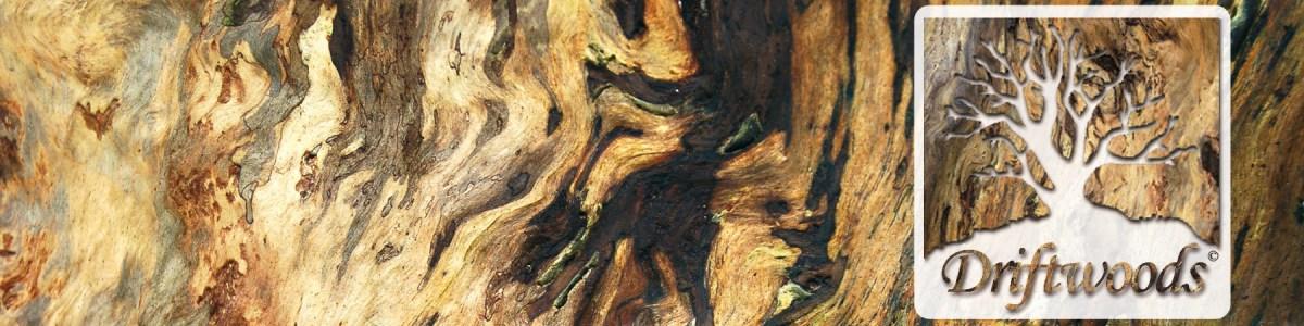 Driftwoods Banner mit Logo und Hintergrund Holz