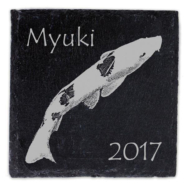 Schieferplatte Untersetzer mit Gravur Koi