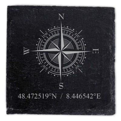 Schieferplatte Untersetzer mit Gravur Kompass