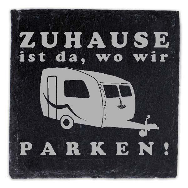 Schieferplatte Untersetzer mit Gravur Wohnwagen